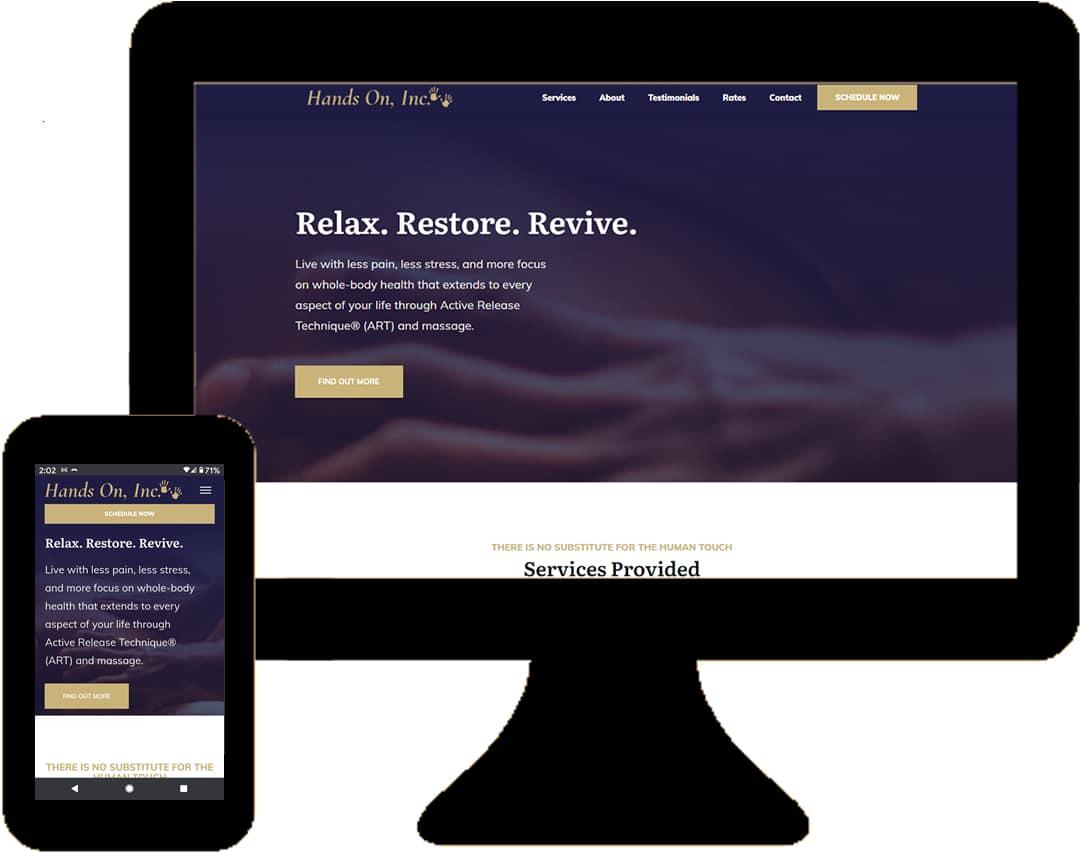 Hands On Massage Inc Website Screenshots