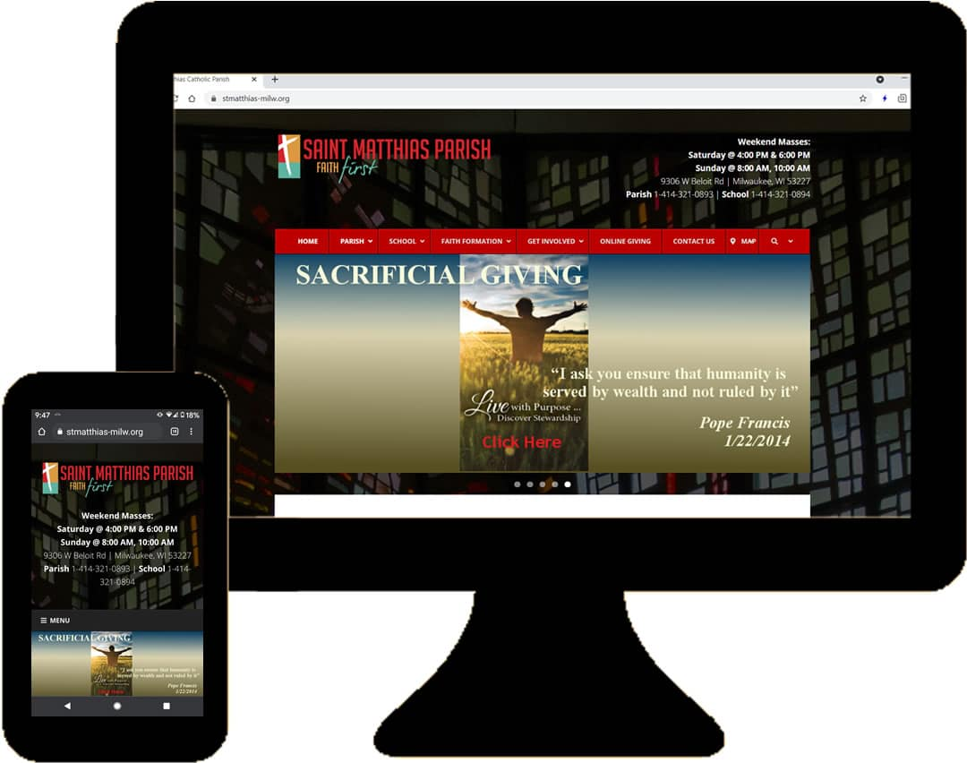 St. Matthias Catholic Parish website photos on desktop & laptop